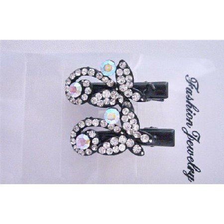 HA405  Butterfly Hair Clamp Clip Fully Embedded Simulated Diamond Pair Hair Clamps Clip