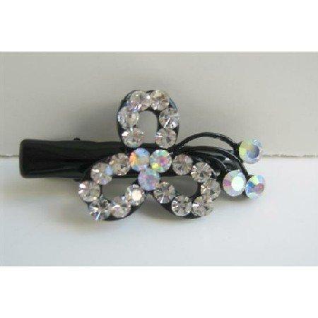 HA311  Simulated Diamond Flower Hair Clamps Clip Sleek & Sparkling Clamps