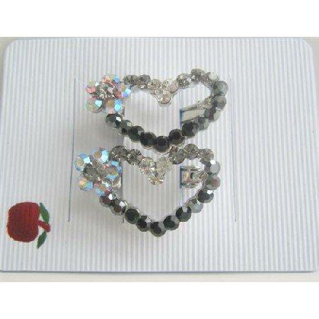 HA143  Flower Heart Austrian Crystals Hair Barrette Jet Crystals Heart Hair Barrette Clip