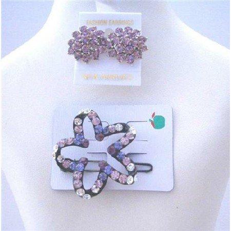 HA190  Star Flower Hair Barrette Ametheyst Crystals w/ Crystals Earrings