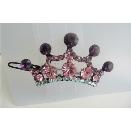 HA166  Crown Hair Barrette Crystals Hair Barrette Clip