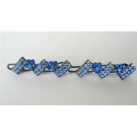 HA115  Hair Accessory Crystals Hair Clips Blue Crystals Sparkling Crystals Hair Clip