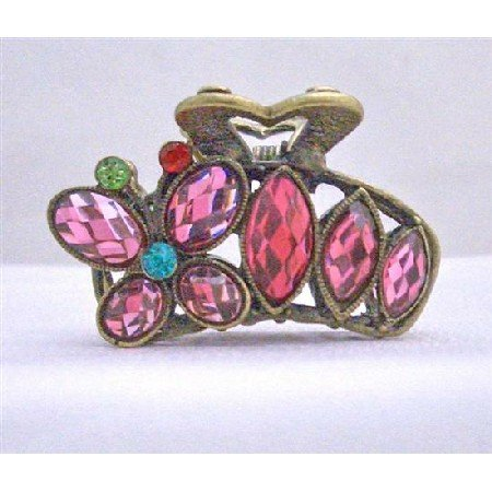 HA161  Sophisticated Crystals Hair Accessories Pin Red Crystals clamp Hair claw Clip