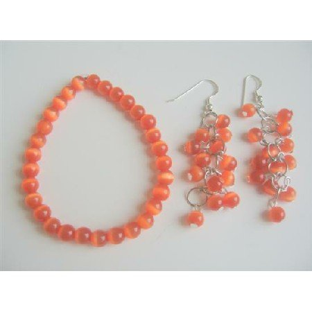 TB536  Dark Orange Cats Eye Stone Bead Sterling Silver Chandelier Earrings Stretch Bracelet