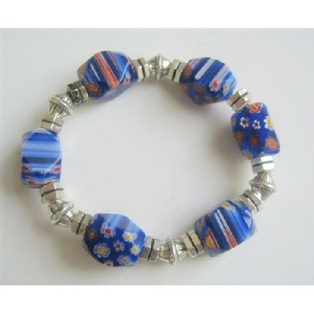 TB544 Millefiori Blue Beads Stretchable Bracelet w/ Different Shape & Size Bali Silver Spacer