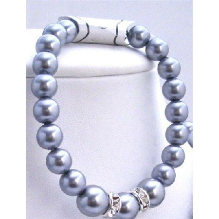 TB628  Grey Pearls Stretchable Bracelet w/ Silver Rondells Synthetic Pearls