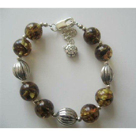 TB359  Olivine Amber Resin Beaded Bracelet w/ Rhodium Traditional Beads Bracelet