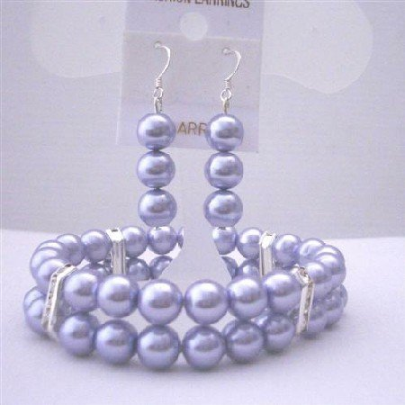 TB412  Lavender Pearls Bracelet & Earrings Simulated Lavender Pearls Double Stranded Stretchable
