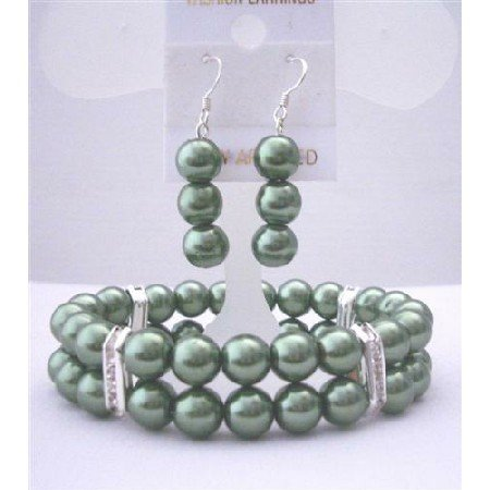 TB413  Green Pearls Jewelry Set Bracelet & Earrings Simulated Pearls Double Stranded Stretchable