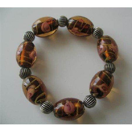 TB362  Topaz Glass Beads Self Designed w/ Ethnic Oxidized Beads Traditional Stretchable Bracelet
