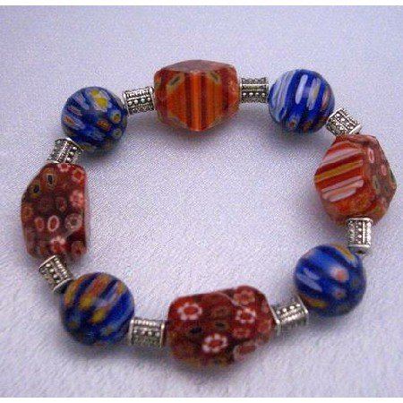 TB282  Shades Of Red & Blue Millefiori Stretchable Bracelet