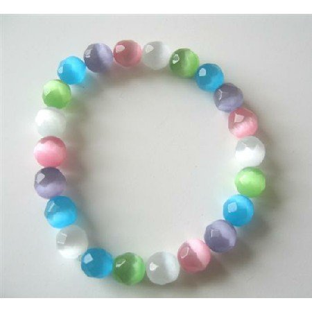 TB378  Multifaceted Colorful Cat Eyes 8mm Stretchable Bracelet