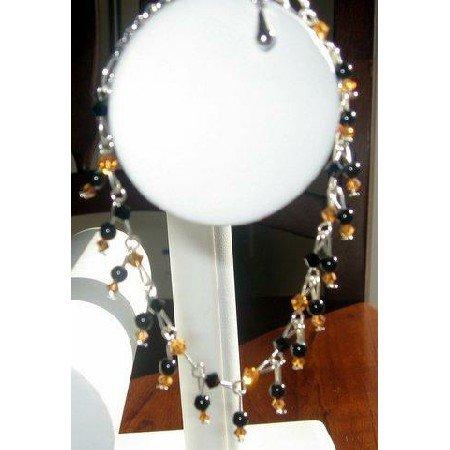 TB205  Vintage Style Topaz and Jet Swarovski Crystals Bracelet