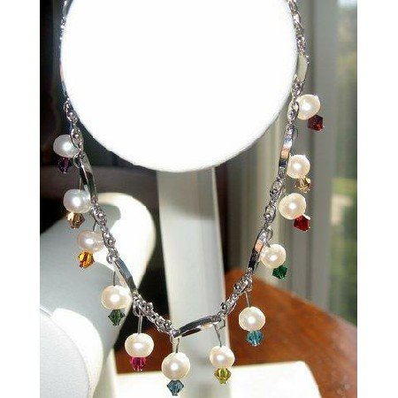 TB211  Gorgeous Fresh water Pearls and Multicolored Swarovski Crystals