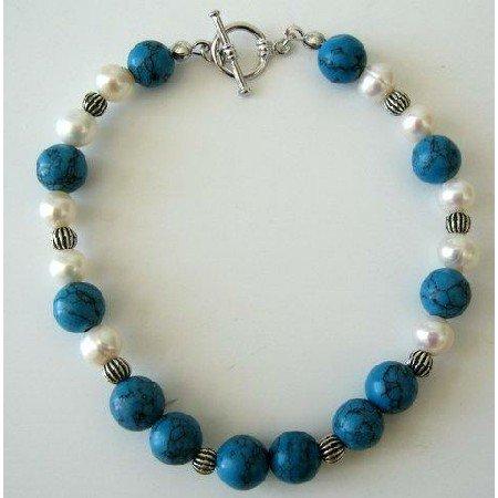 TB255  Freshwater Pearls Potato Shaped & Turquoise Bead w/ Bali Silver Bead