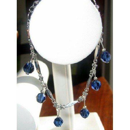 TB201  Elegant Formal Bracelet in silver w/ Sapphire Crystals hanging