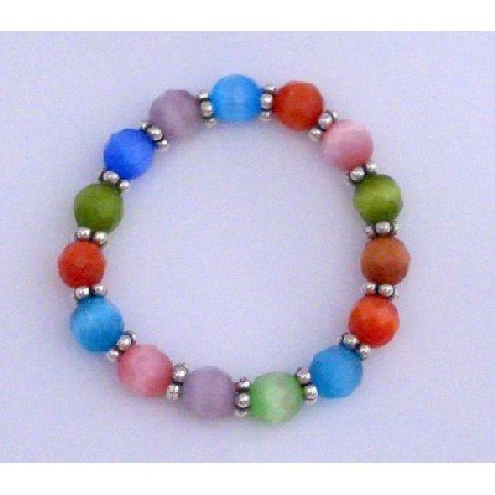 TB297  MultiColor Cat Eye Stretchable Bracelet w/ 9mm Faceted Beads & Daisy Spacing