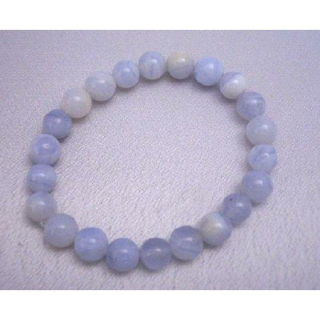 TB288  Blue Agate Stretchable Bracelet 12mm