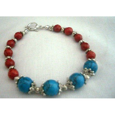 TB247  Handcrafted Bracelet Turquoise Coral Red Bead w/ Oxidized Bead Metal