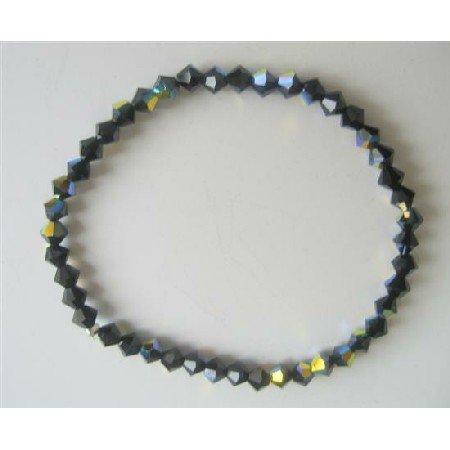 TB563  AB Jet Swarovski Crystals Stretchable Bracelet Genuine Swarovski Crystals Bracelet