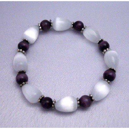 TB287  Genuine 12mm White Cat Eye Tear Drop Bracelet w/ Purple Cat eye