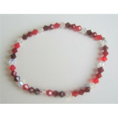 TB562  Swarovski Siam Red Garnet Clear Crystals Stretchable Bracelet