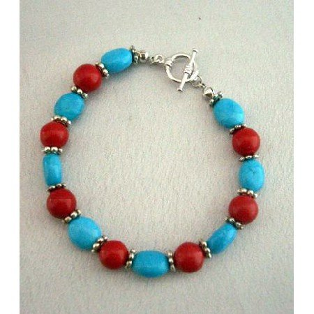 TB280  Handmade Flat Autumn Oval Turquoise & Coral Round Faceted Beads Bracelet w/ Toggle Clasp