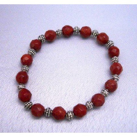 TB289  Custom Faceted 7mm Coral Faceted Beads Stretchable Bracelet