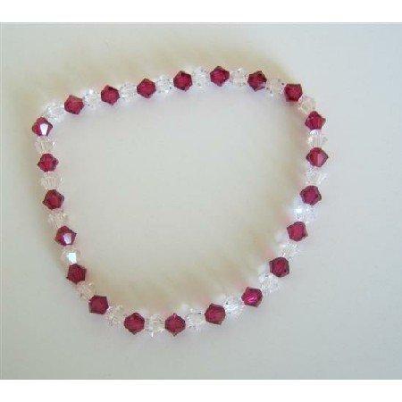 TB328  Clear Crystals And Fuschia Swarovski Crystals Stretchable Bracelet
