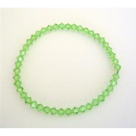 TB312  Affordable Stretchable Bracelet Genuine Peridot Crystals Swarovski Jewlery