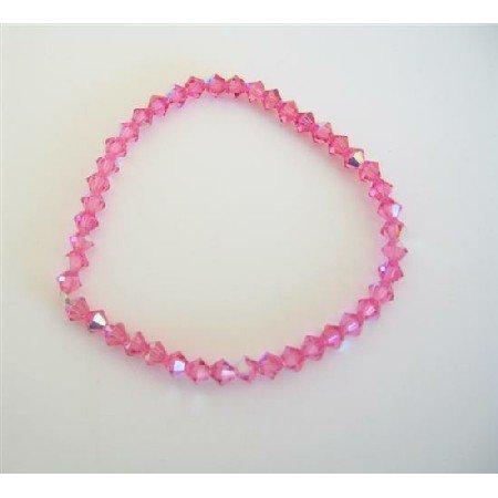TB315Pink Crystals Stretchable Bracelet Genuine Swarovski AB Fuschia Pink Crystals Bracelet