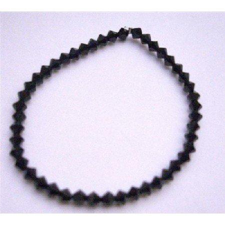 TB714  Stretchable Genuine Swarovski Jet Crystals Bracelet Affordable Bracelet