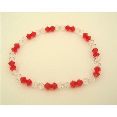 TB316  Swarovski Siam Red Crystals & AB Crystals Stretchable Bracelet