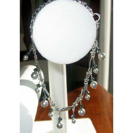 TB202  Vintage Style Light Grey Pearls Hanging Bracelet