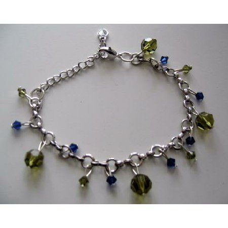 T241  Elegant Formal Bracelet in silver w/ Genuine Swarovski Tahitan and Sapphire Crystals hanging