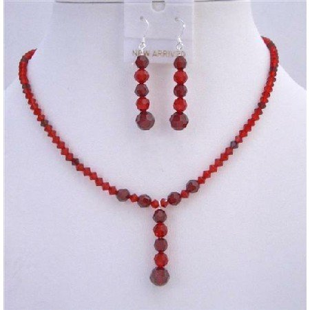 BRD735 Wedding Party Jewelry Set Light & Dark Siam Red Crystals Necklace & Earrings Set