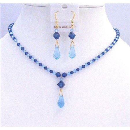 BRD827  Blue Swarovski Crystals Aquamarine Sapphire Crystals Jewelry Set