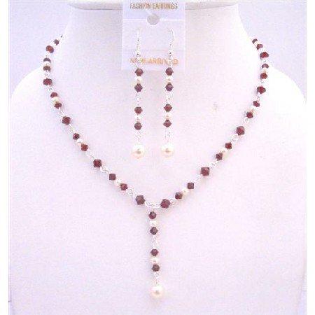 BRD667 Dark Siam Red Crystals Drop Down Necklace w/ White Swarovski Pearls Jewelry Set
