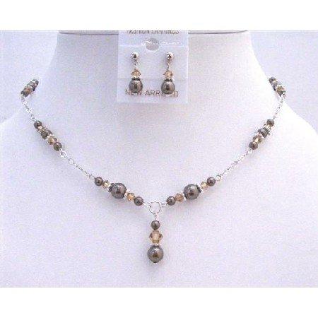 BRD787  Customize Bridal Jewelry Swarovski Brown Pearls Lite Colorado Crystals