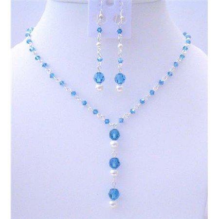 BRD430Bridemaides Custom Jewelry Genuine Swarovski Indicolite & White Pearls Jewelry Set