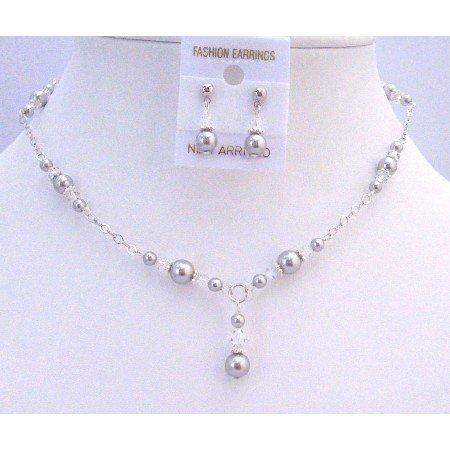 BRD865  Silver Pearls Clear Crystals Prom Bridal Bridemaids Swarovski Jewelry