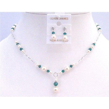 BRD837 Prom Jewelry Ivory Pearls Emerald Crystals Bridal Drop Down Necklace