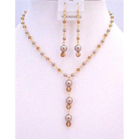 BRD878  Copper Swarovski Crystals Jewelry Set Hanmade Custom Bronw Pearls Copper Crystals