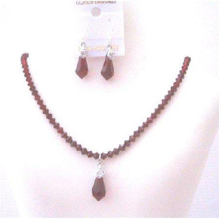 BRD439 Siam Red Crystals Jewelry Set w/ Teardrop Pendant & Earrings Wedding Bridal Jewelry