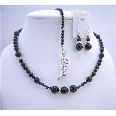 BRD653 Back Drop Pearls Crystals Necklace Set w/ Fish Pendant Dangling At Back Neckalce