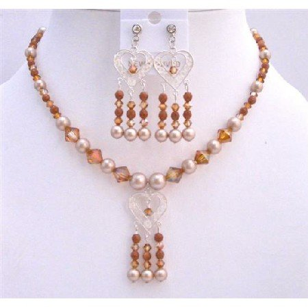 BRD685  Gorgeous Jewelry Powder Almond Pearls Set Necklace Sterling Silver Pendant & Earrings