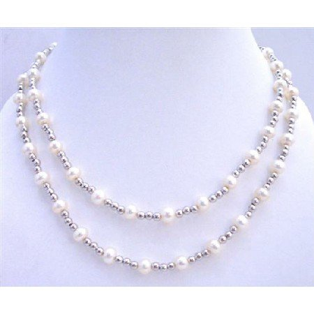 BRD708 Wedding Bridal White Freshwater Pearls Double Stranded Necklace w/Silver Beads