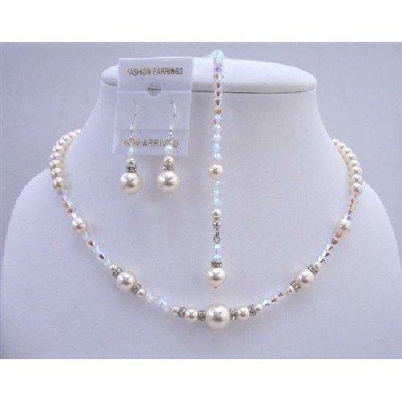 BRD649  AB 2x Swarovski Crystals w/ Ivory Pearls Bridal Jewelry Back Drop String Necklace Set