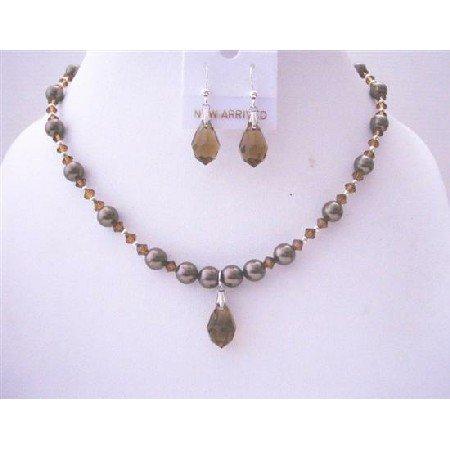 BRD507  Chocolate Brown Pearls & Swarovski Brown Crystals w/ Czeck Teardrop & Earrings