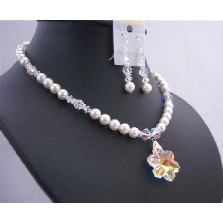 BRD672  Bridal Necklace Set AB Snowflake Crystals Pendant 25mm w/ AB Crystals Beads
